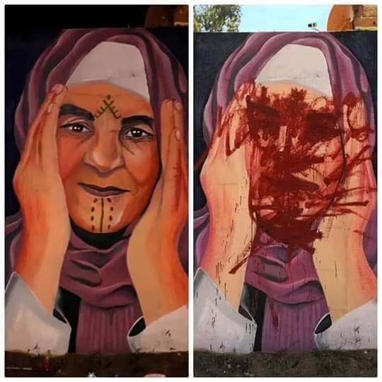 Giant Public Artwork of Amazigh Woman's Face Destroyed