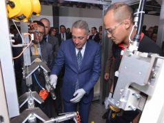 Moroccan Minister of Industry Moulay Hafid Elalamy attends the Nexteer plant inauguration in Kenitra.
