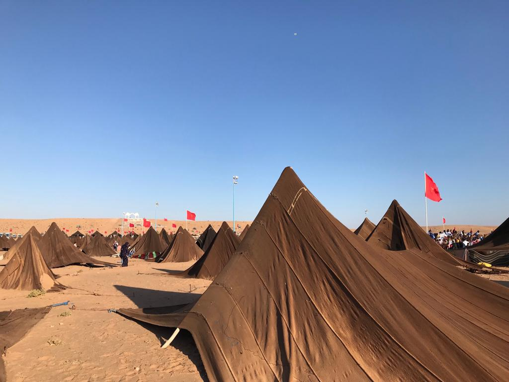 Festival organizers set up hundreds of nomad tents around a large arena, powerful symbols of cultural identity.