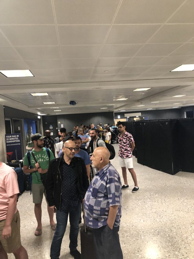 Royal Air Maroc passengers queue up to make a lost baggage claim at Washington-Dulles International Airport. Photo credit: #giveusourbags