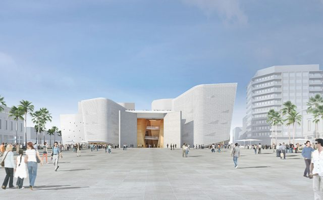 The building plans of the Casablanca Grand Theater include two large theatre halls seating 1800 and 600 people, a music hall seating 300 people, practice rooms, and meeting rooms.