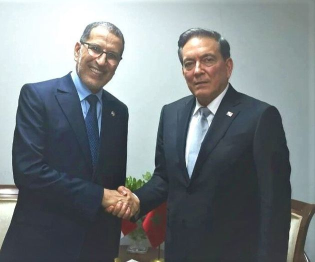Morocco's head of government Saad Eddine el Othmani shakes hands with Panama's president Laurentino Nito Cortizo