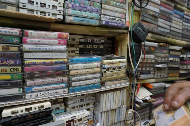 The cassettes in Al Araby's shop are stacked two-deep to accommodate all of the albums he has amassed over the past five decades.