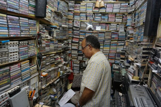The tapes in Al Araby's shop, located deep in the medina of Fez, are stacked floor to ceiling.
