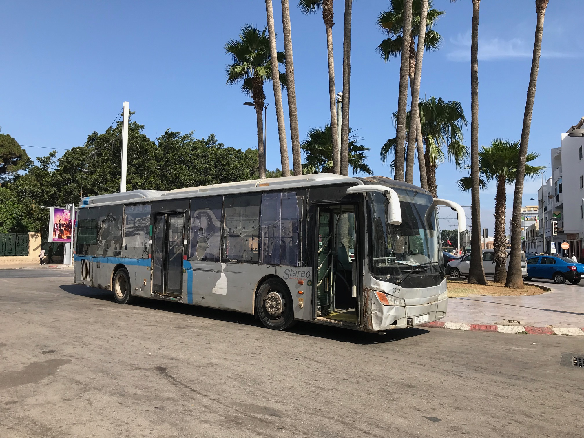 Stareo buses in Rabat often have smashed paneling and windows