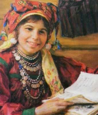 A schoolgirl reading in 1934.