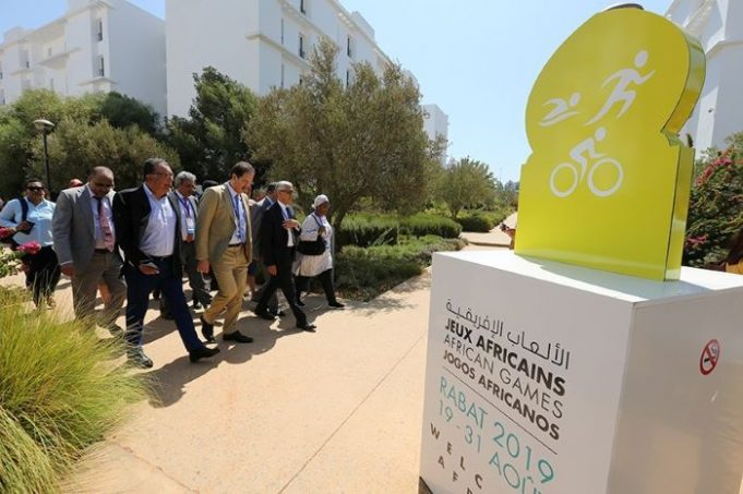 Officials at the opening of the Games Village at Rabat International University. Photo credit: Jeux Africains Rabat 2019.