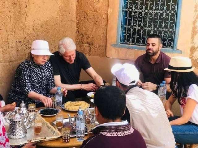 Clintons Enjoy Traditional Moroccan Breakfast in Marrakech
