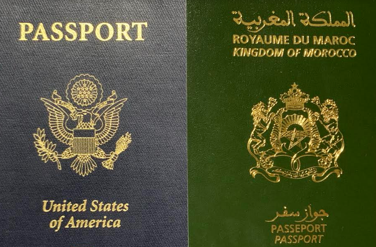 Moroccan and American passport