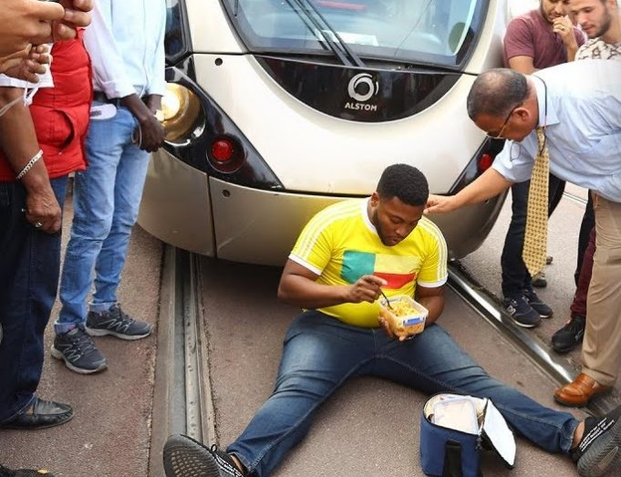 Sub-saharan Immigrant Protests Against Tramway Company in Rabat