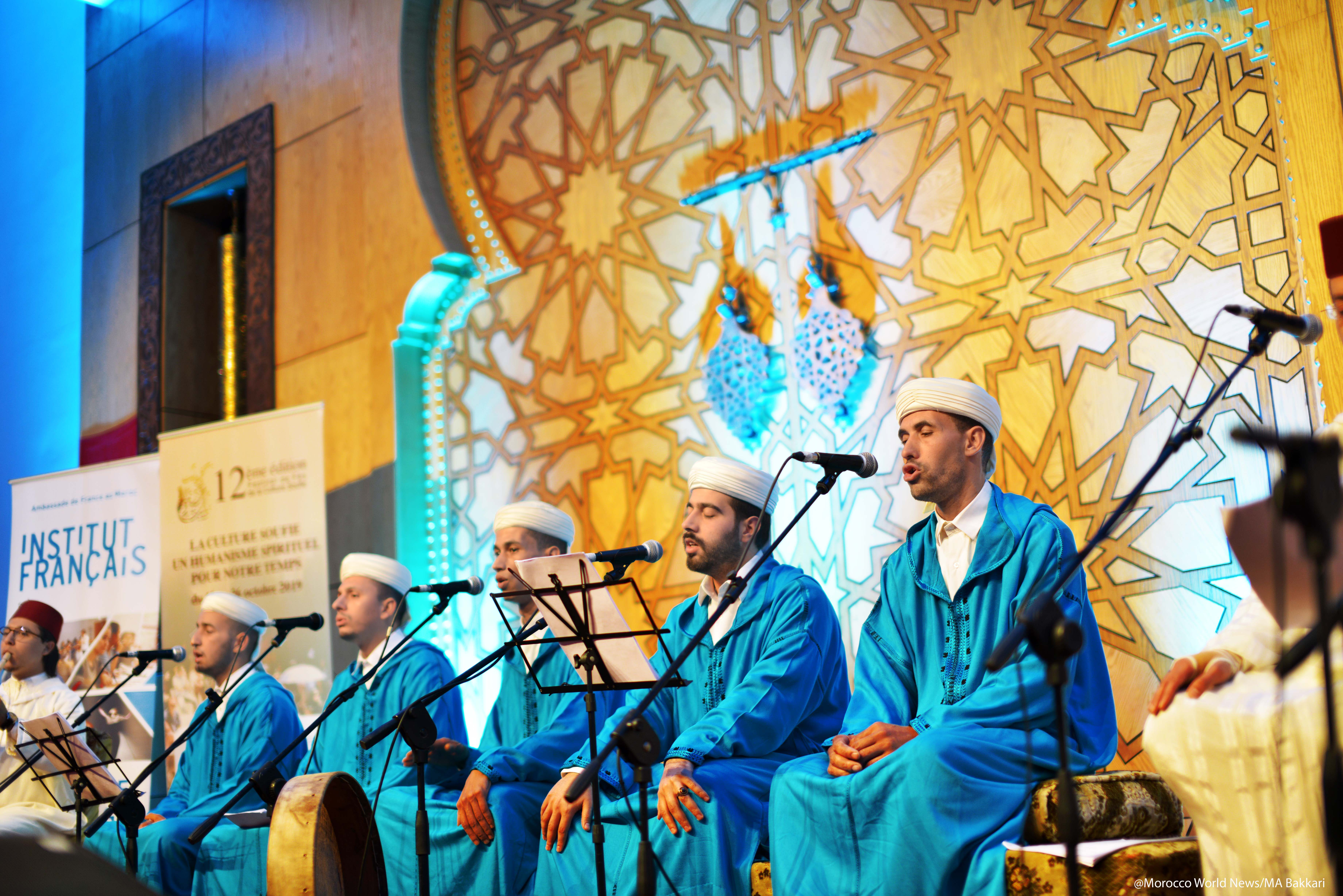 Sufi music group Tariqa Rissouniya at the 12th Fez Festival of Sufi Culture