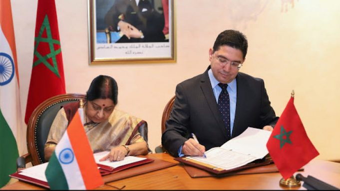 Morocco's Minister of Foreign Affairs Nasser Bourita with former Indian Minister of External Affairs Sushma Swaraj