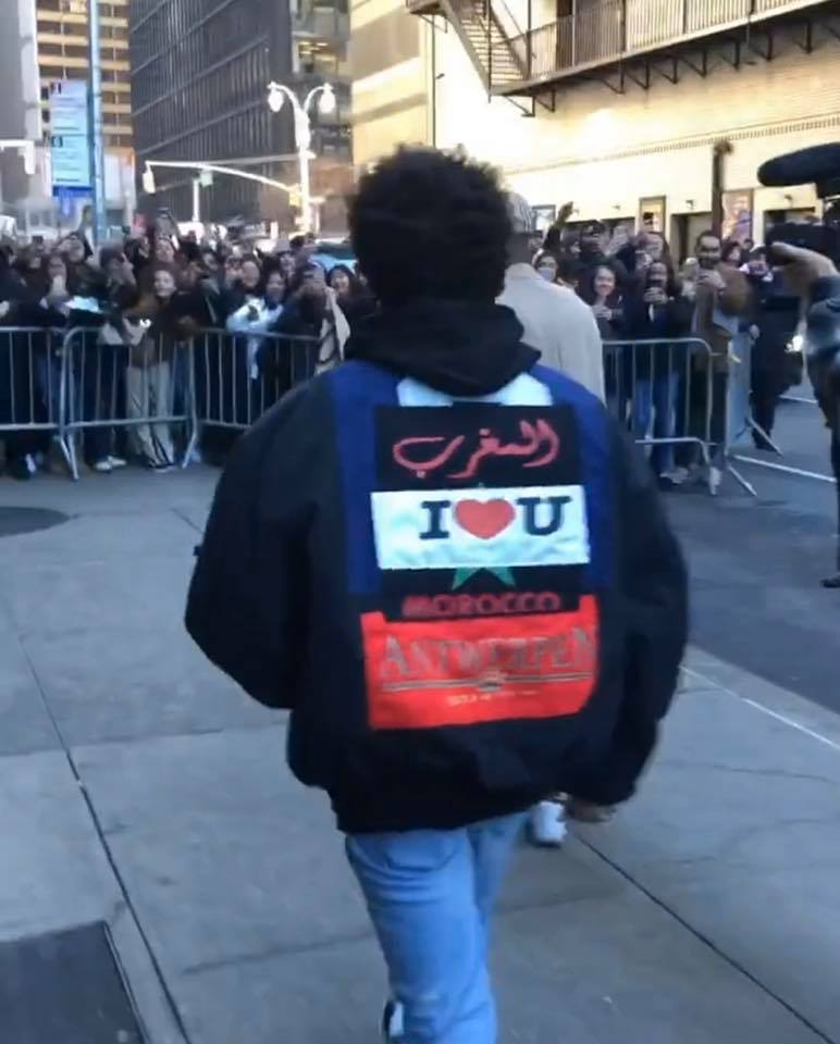 The Weeknd Flashes 'I Love Morocco' Jacket in New York