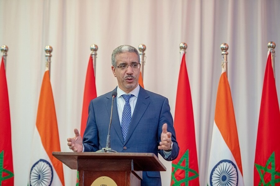 Morocco's Energy Minister Aziz Rabbah addressing the audience at the 70th Republic Day of India celebration ceremony in Rabat.