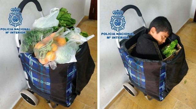 Spanish Police Arrest Two Moroccans With Child in Shopping Trolley