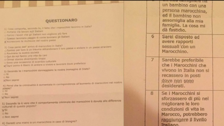 Moroccan Embassy in Rome Denounces Racist School Questionnaire