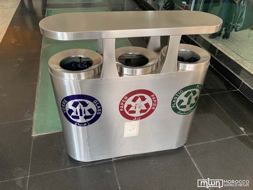Small bins for recycling glass, paper, and plastic, Rabat Ville station. copy