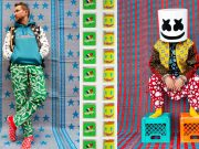 David Guetta, Steve Aoki, and Marshmello are adorned with Moroccan accents in Hajjaj's colorful shoot for Vanity Fair.