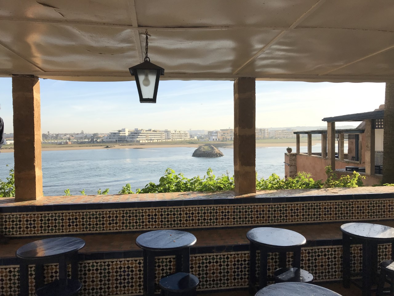 A view of the ocean below, from the cafe in the Kasbah of the Udayas