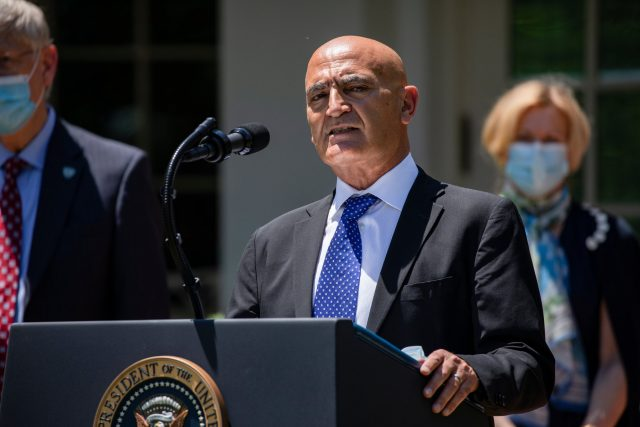oncef-Slaoui addressing the press after his appointment by President Donald-Trump
