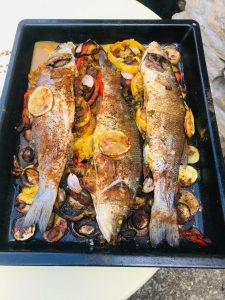 Roast the sea bass in the oven for 45 minutes