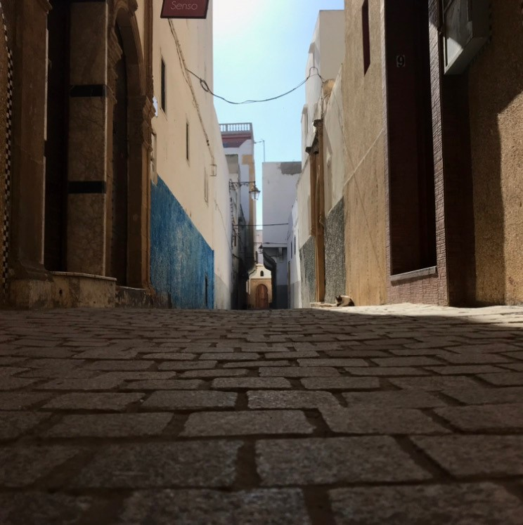Sunlight illuminates cobblestones and creates shadows, in the Medina of Rabat, on Monday, Feb. 24, 2020 in Rabat, Morocco