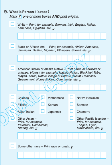 Image of an informational copy of the 2020 US census question number 9