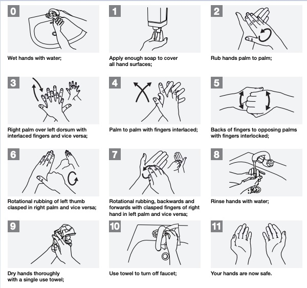 WHO recommended hand washing technique