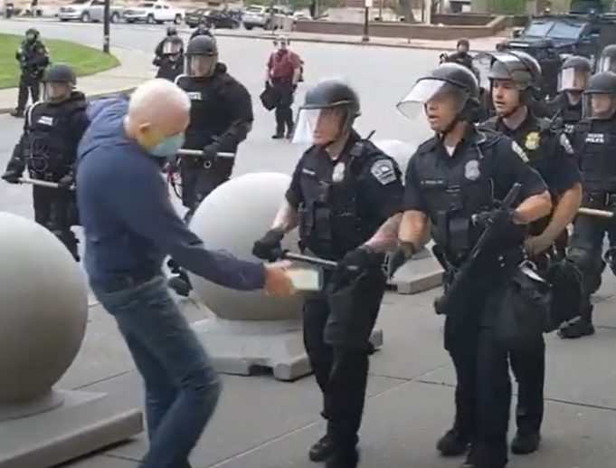 Graphic Footage US Police Shove Old Man, Leave Him Lying Unconscious
