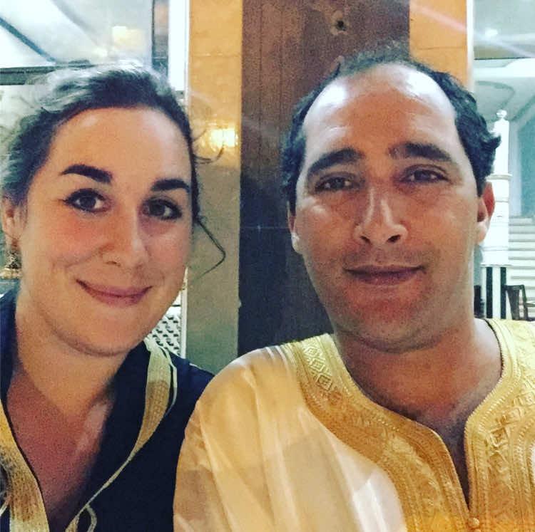 Madeleine Handaji and her husband in tradtional Moroccan dress enjoying an Eid Al Adha coffee