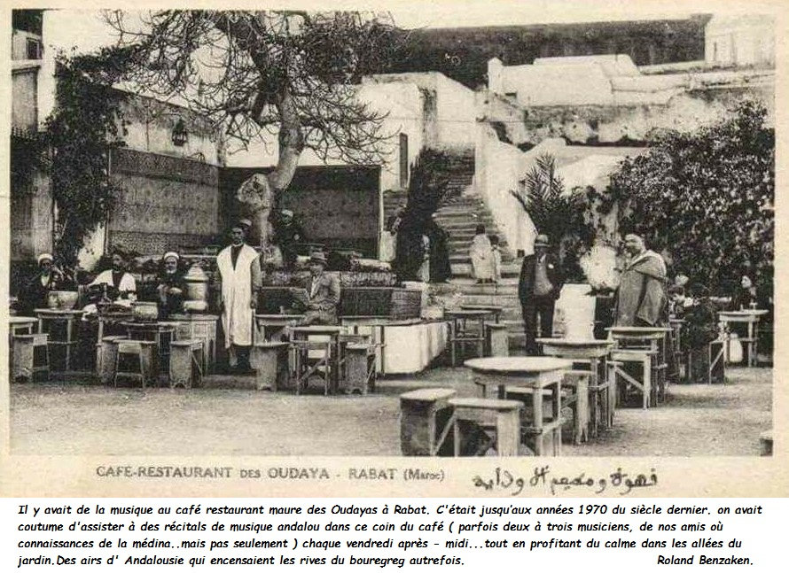 Old photo of the Moorish cafe in Rabat