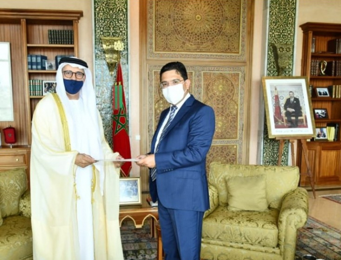 Morocco's FM Nasser Bourita and UAE's new Ambassador to Morocco, Al Asri Saeed Ahmed Al Dhaheri.