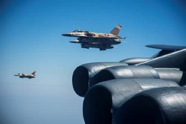 Morocco's F-16 Flies With US-B52 Bombers Participating in Europe Mission