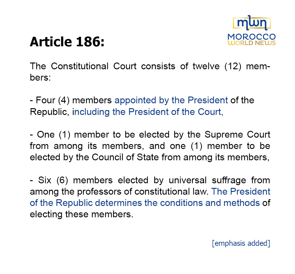Article 186: The Constitutional Court consists of twelve (12) members:- Four (4) members appointed by the President of the Republic, including the President of the Court,- One (1) member to be elected by the Supreme Court from among its members, and one (1) member to be elected by the Council of State from among its members,- Six (6) members elected by universal suffrage from among the professors of constitutional law. The President of the Republic determines the conditions and methods of electing these members.