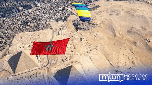 Skydiver Anas Bekkali Flies Moroccan Flag Over Pyramids of Giza