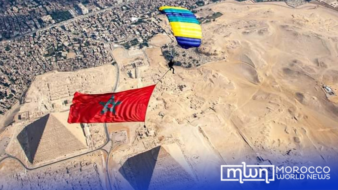 Skydiver Anas Bekkali Flies Moroccan Flag Over Pyramids of Giza